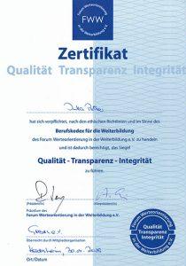 Zertifikat Berufskodex für die Weiterbildung